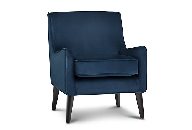 Angie Dark Blue Velvet Accent Chair | Living Room - Accent ...
