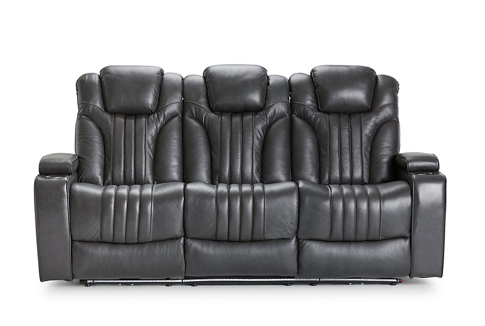 Outstanding Kevin Gray Leather Vinyl Power Reclining Sofa Living Gmtry Best Dining Table And Chair Ideas Images Gmtryco