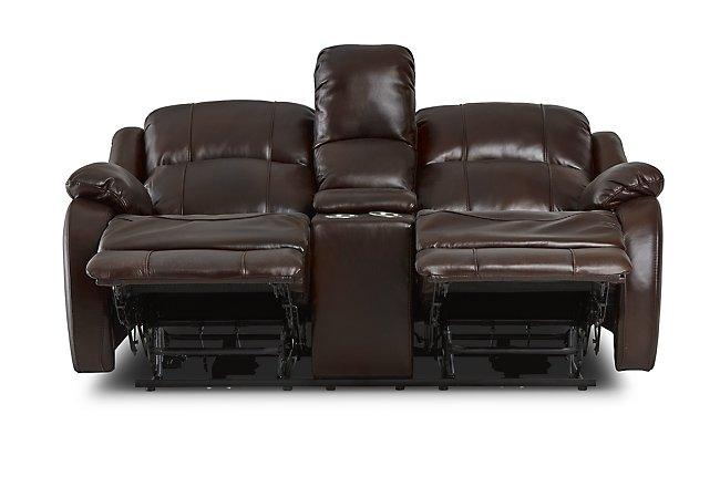Dalton Medium Brown Lthr/vinyl Reclining Console Loveseat