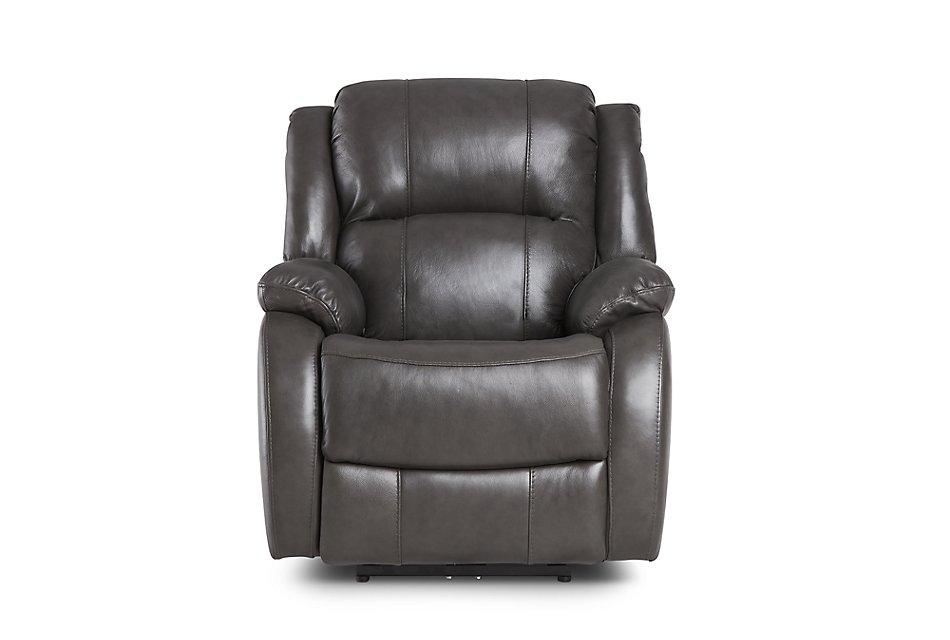 Magnificent Dalton Dark Gray Lthr Vinyl Power Recliner Living Room Customarchery Wood Chair Design Ideas Customarcherynet