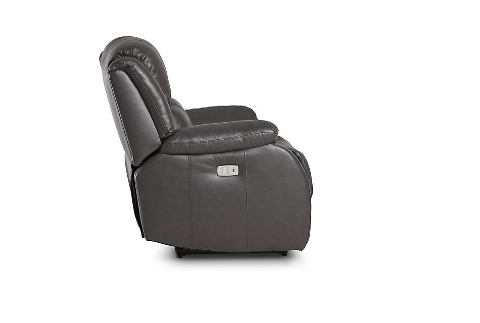 Astounding Dalton Dark Gray Lthr Vinyl Power Recliner Living Room Customarchery Wood Chair Design Ideas Customarcherynet