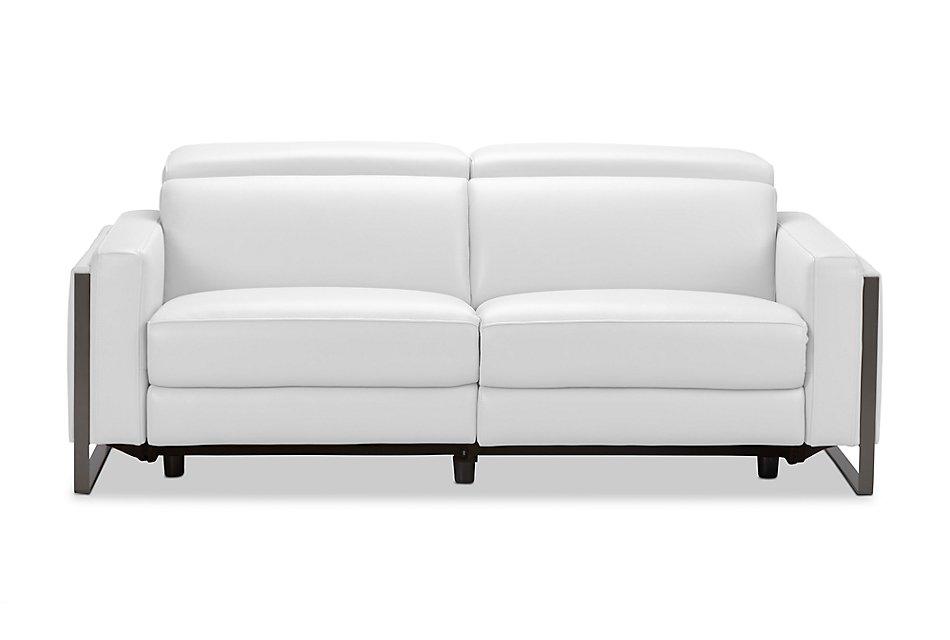 Atlas White Lthr Vinyl Reclining Sofa Living Room