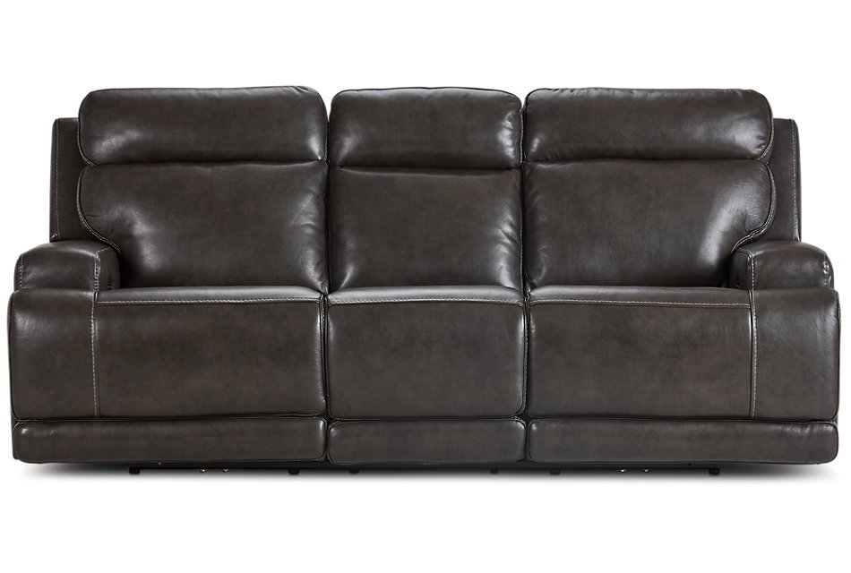 Phenomenal Valor Dark Gray Leather Power Reclining Sofa Living Room Pabps2019 Chair Design Images Pabps2019Com