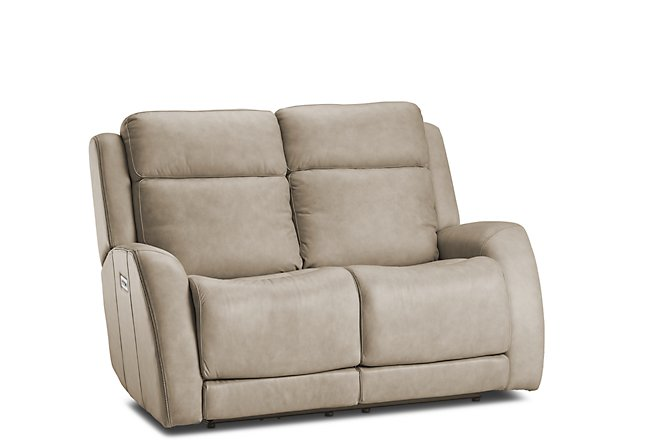 Rawlings Taupe Leather Power Reclining Loveseat