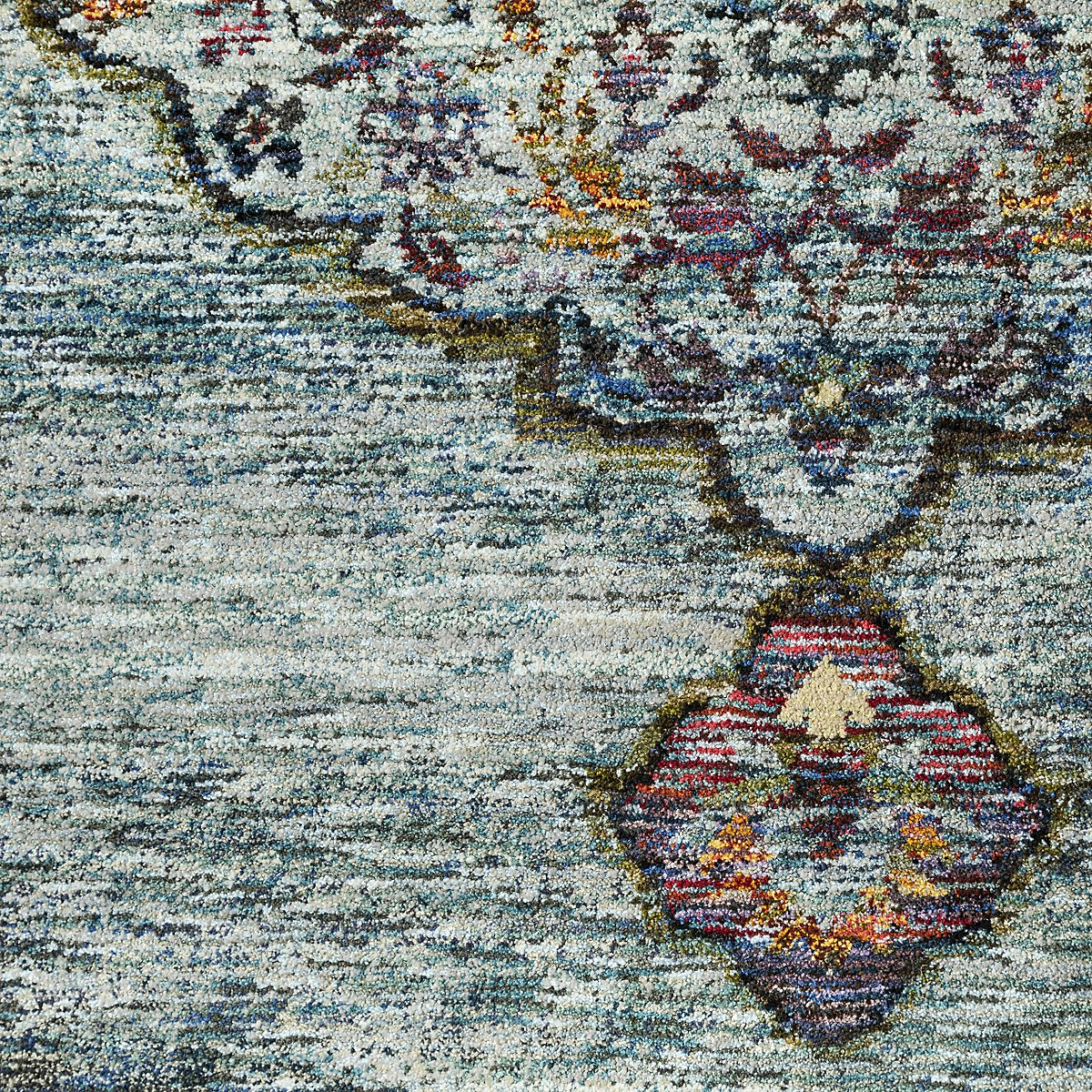 Andra Multicolored Poly Blend 5x8 Area Rug