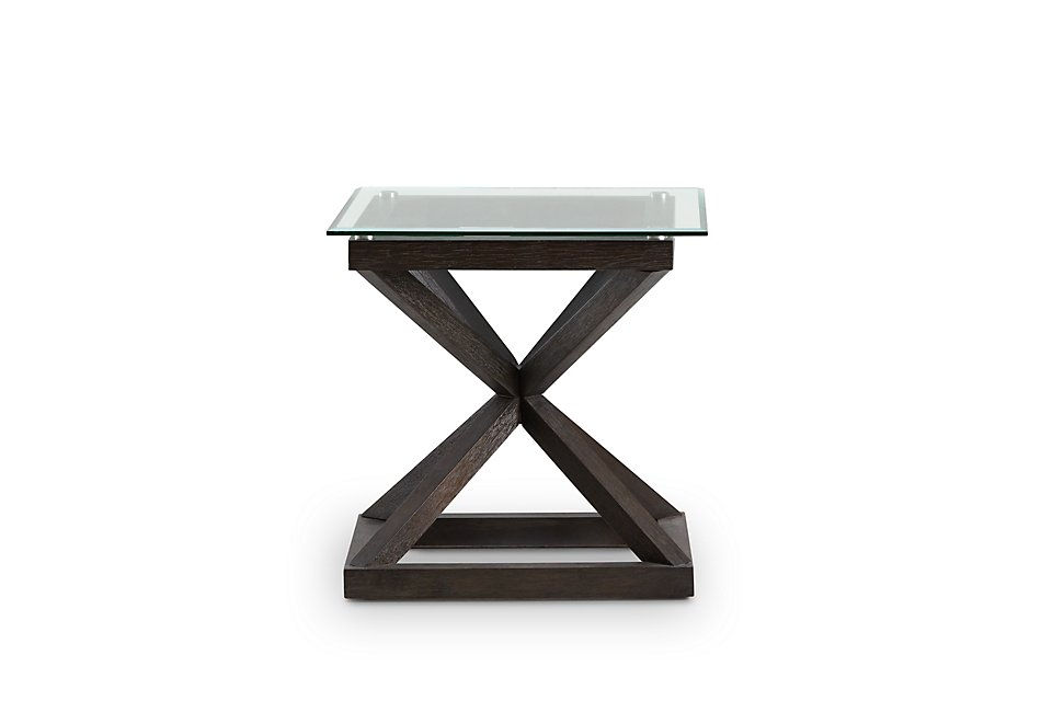 Tribeca Dark Tone Glass Square End Table | Living Room - End ...