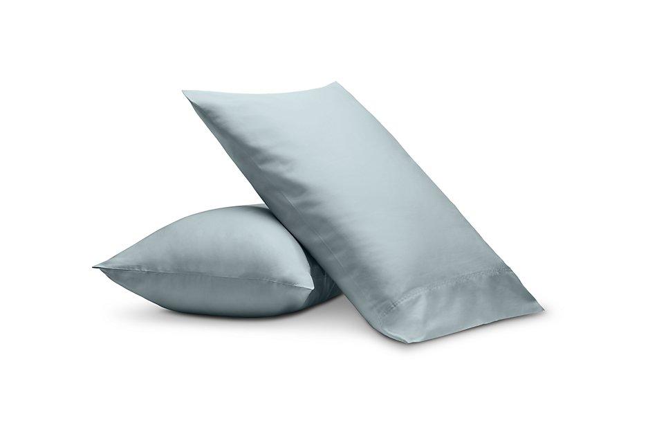 Cotton Sateen Light Blue  300 Thread Set Of 2 Pillowcases