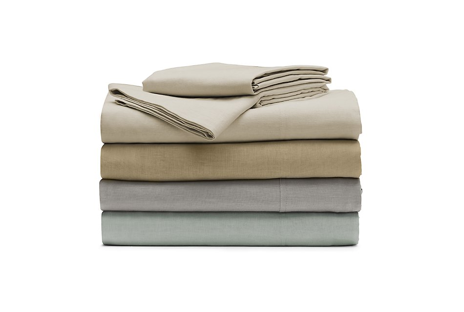Linen Blend Blue  Sheet Set
