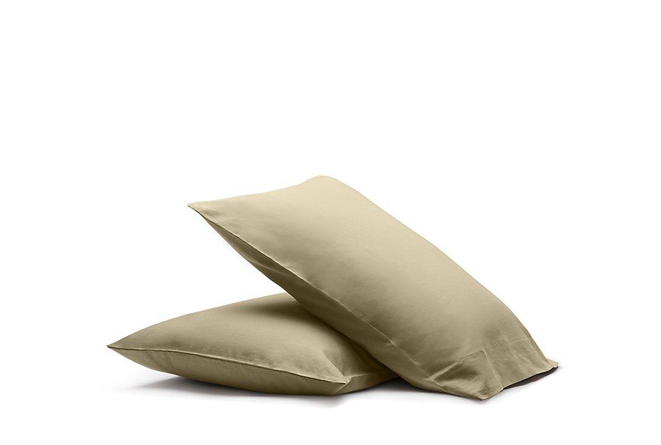 Linen Blend Khaki  Set Of 2 Pillowcases