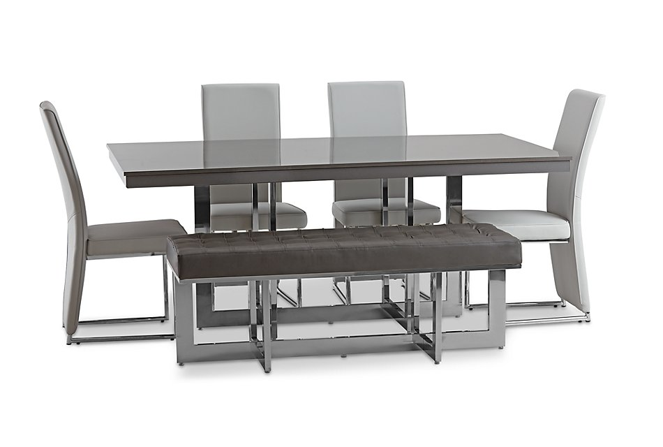 Cortina Gray Table 4 Chairs Bench Dining Room