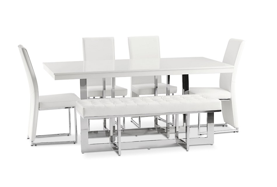 Cortina White Table 4 Chairs Bench Dining Room